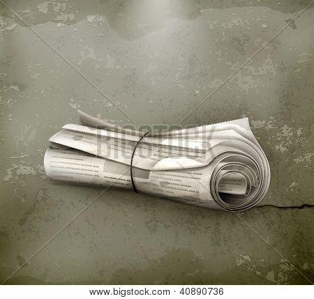 Rolled Newspaper, old-style vector
