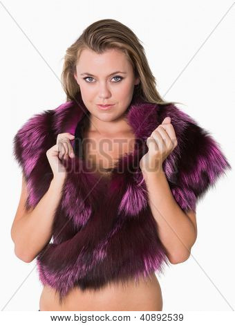 Woman wearing purple fur stole