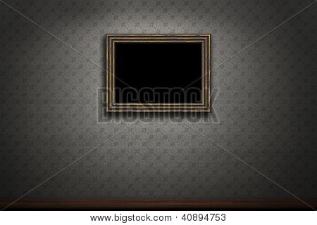 Old Wooden Frame On Retro Grunge Wall