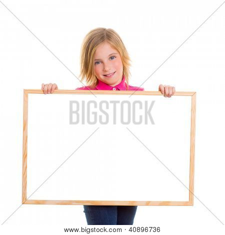 blond child kid happy girl holding blank white board copy space
