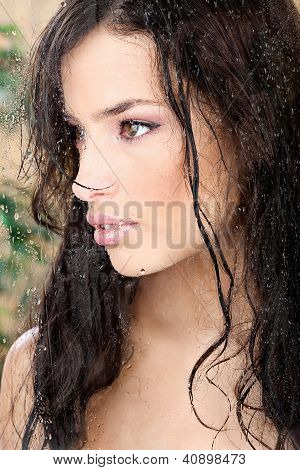 Beautiful Wet Girl In Tropical Environment