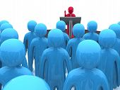 picture of public speaking  - Character standing on platform and speaking - JPG