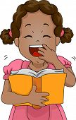stock photo of laugh out loud  - Illustration of a Girl Laughing Out Loud While Reading a Book - JPG