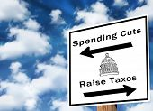 Direction sign for raising taxes or cutting spending. Great for fiscal cliff