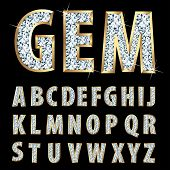 image of precious stones  - vector golden alphabet with diamonds - JPG