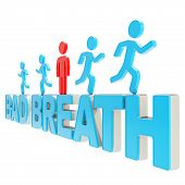 Human Running Symbolic Figures Over The Words Bad Breath