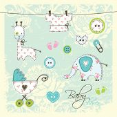 foto of buggy  - Baby shower design elements  - JPG