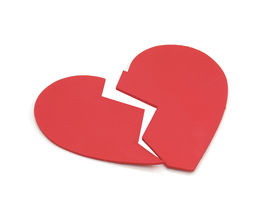 stock photo of broken-heart  - Broken heart card cut - JPG