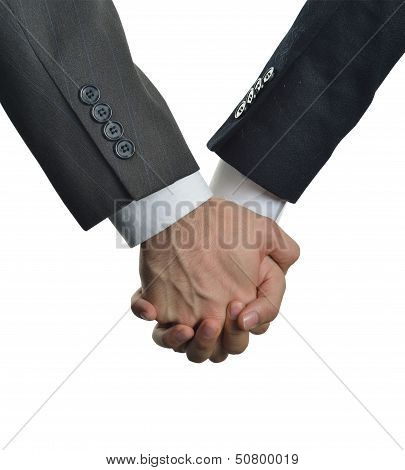 two men clasped hands in love