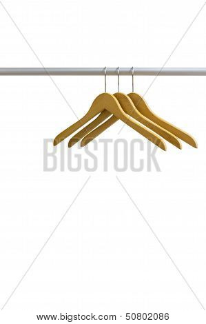 Wood Coat Hanger Isolated On The White Background