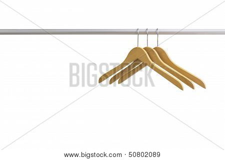 Wood Coat Hanger Isolated On The White Background
