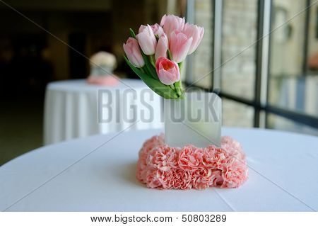 Pink Tulips Wedding Centerpiece