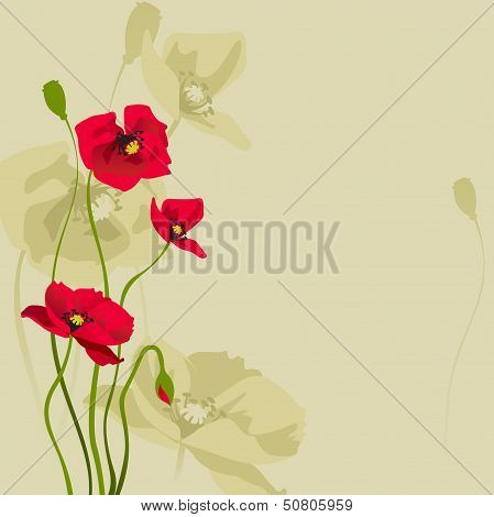 card design with stylized poppy