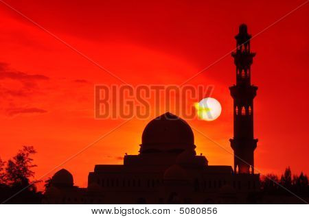 Silhouette Of A Mosque.
