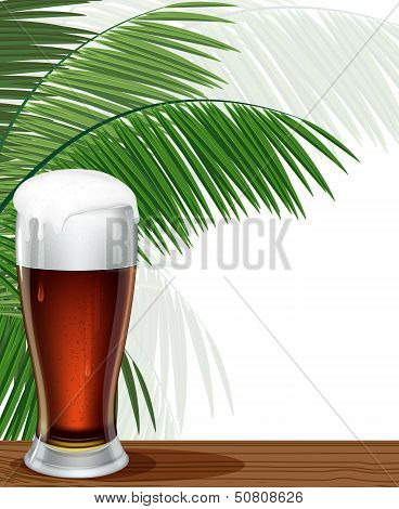 Glass Of Beer And Palm Branches