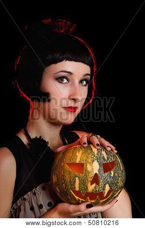 Halloween Woman With A Pumpkin
