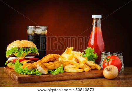 Fast Food Menu With Hamburger, Chicken Nuggets And French Fries