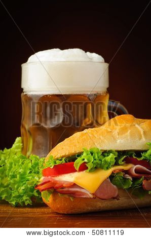 Baguette Sandwich And Beer