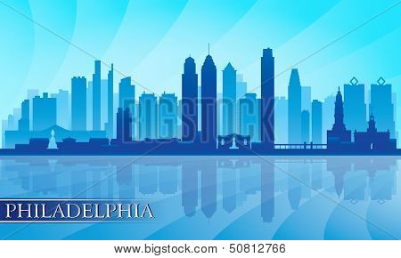 Philadelphia City Skyline Detailed Silhouette