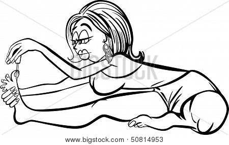 Woman In Yoga Position Cartoon