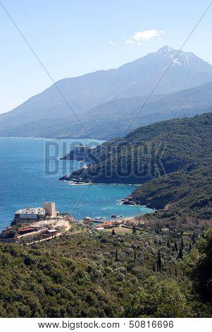 Panoramic view on the Pantokratoros monastery and the Holy Mount Athos