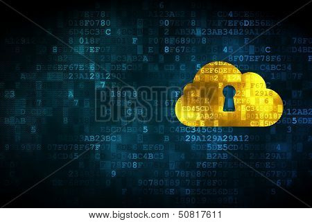Cloud computing concept: Cloud With Keyhole on digital backgroun poster