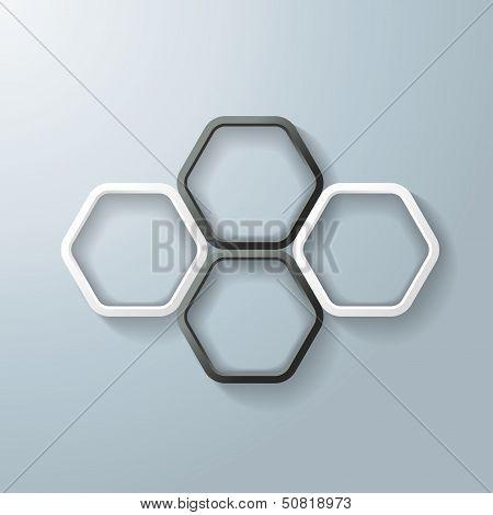 Black White Hexagon Rings Infographic
