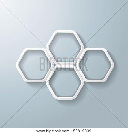 Four White Hexagon Rings Infographic