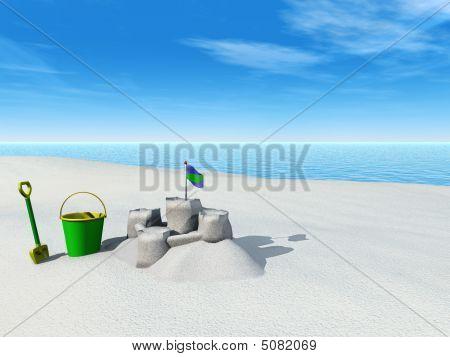 Bucket, Spade And Sand Castle On A Beach.