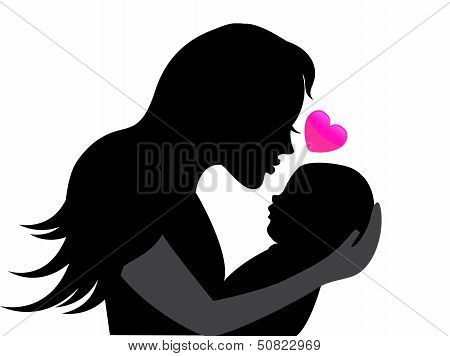 silhouette mother holding a baby in her arms
