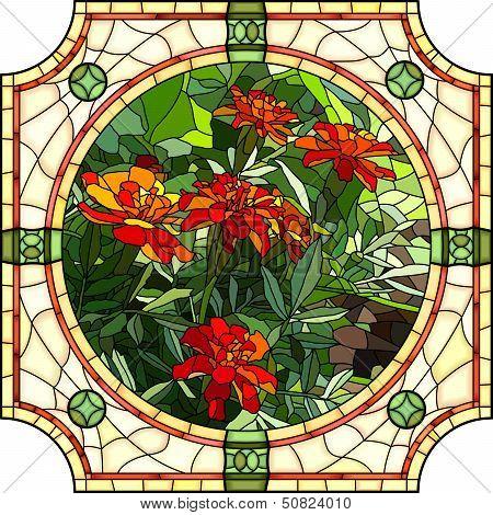 Vector Illustration Of Flower Red Marigold.