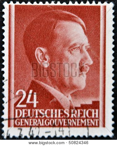 A Stamp Printed By Third Reich Shows Portrait Of Adolf Hitler