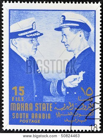 Stamp printed by South Arabia shows John Fitzgerald Kennedy