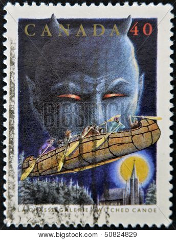 Canada - Circa 1991: A Stamp Printed By Canada, Shows Folktales, Witched Canoe, Circa 1991