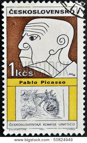 A stamp printed in Czechoslovakia shows Pablo Picasso