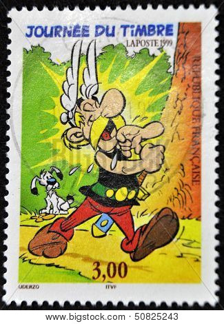 France - Circa 1999: A Stamp Printed In France Shows Cartoon Character, Asterix, Circa 1999