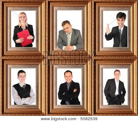 Framed Half-length Portraits Of Six Successful Bussinessmen