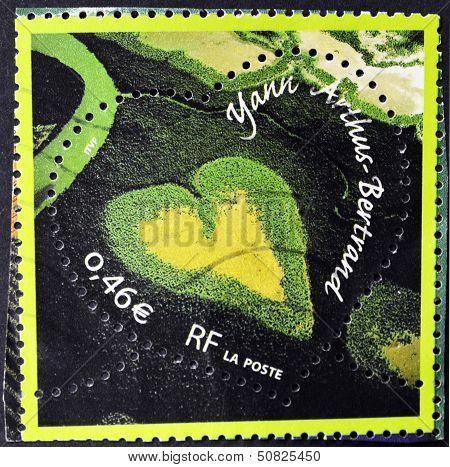 A stamp printed in France shows Mangrove Valentine heart-shaped mangrove in New Caledonia