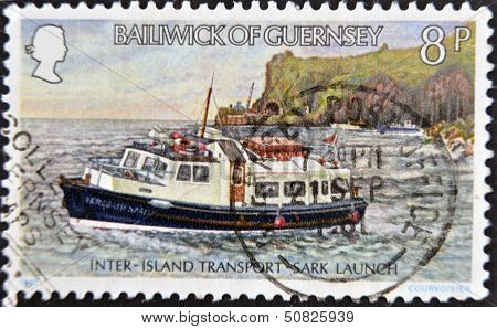 A stamp printed in Guernsey shows inter island transport sark launch