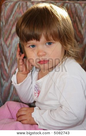 Baby Girl And Mobile Phone