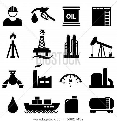 Oil And Gasoline Icon Set