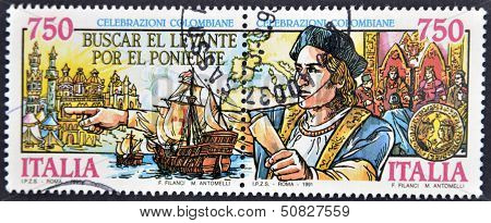 Italy - Circa 1991: Stamp Printed In Italy Show Of The Discovery Of America Of Christopher Columbus