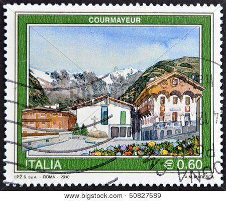 Italy - Circa 2010: A Stamp Printed In Italy Shows Courmayeur, Circa 2010