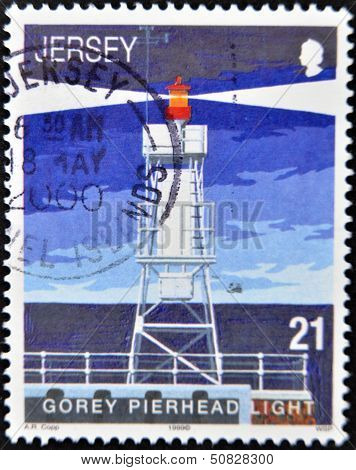 Jersey - Circa 1999: A Stamp Printed In Jersey Shows Gorey Pierhead Light, Circa 1999