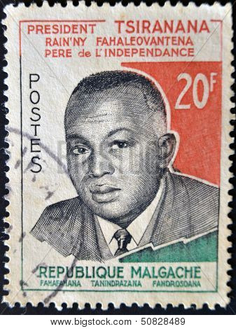A stamp printed in Madagascar shows tribute to President Tsiranana - Independence Day