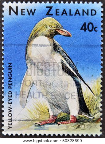 A stamp printed in New Zealand shows a penguin