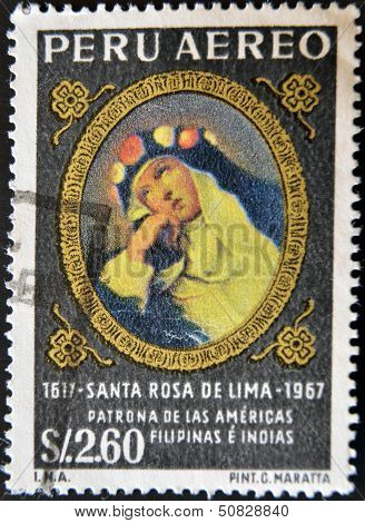 A stamp printed in Peru shows St. Rose of Lima patroness of the Americas Philippines and India