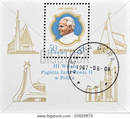 Poland - Circa 1987: A Stamp Printed In Poland Shows Pope John Paul, Circa 1987
