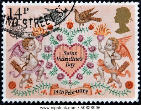 A Stamp Printed In The Great Britain Shows Lovebirds, Angels And Heart Valentines Day