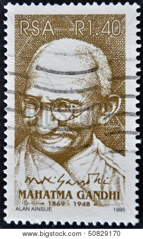 SOUTH AFRICAN - CIRCA 1995: A stamp printed in RSA shows Mahatma Gandhi